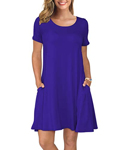 KORSIS Women's Summer Casual T Shirt Dresses Short Sleeve Swing Dress with Pockets Royal Blue ()