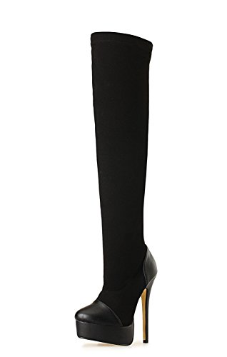 d estilete Elasticidad Sobre arranque Mujeres Fiesta de genuina largo moda rodilla EUR NVXIE de piel alto Otoño Nueva la muslo Negro de tacón Impermeable 1 Zapatos 40 del invierno EUR41UK758 primavera Exfoliante Haxzwdqp