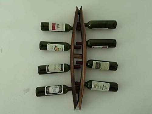 Wall Mounted Wine Rack Barrel Stave Hanging Wooden Wine Rack 6 Bottle Barrel Stave Wooden Wall Wine Rack Wine Bottle Holder Wine Shelf (Brown, 40