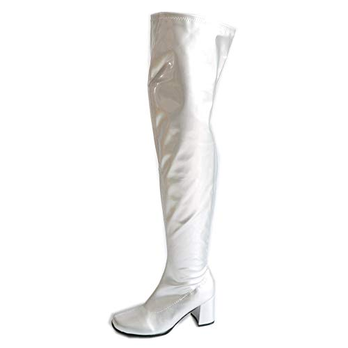 Sorbern Patent Thigh High Women Boots Square Heels Custom Color (11 M US, Silver -