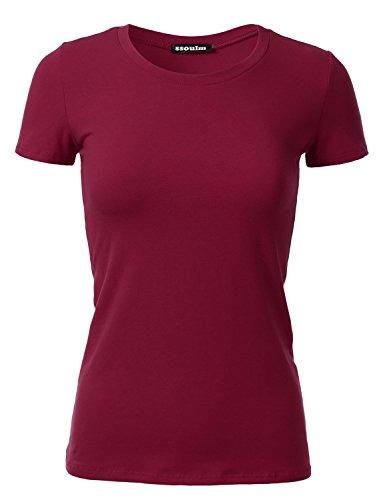 SSOULM Women's Short Sleeve Crewneck Cotton Basic Slim Fit T-Shirt Top Maroon 1XL -