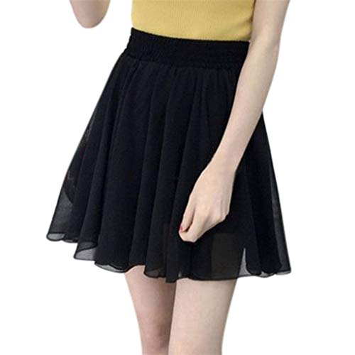 iPOGP Women's Short Skirt Chiffon Party Cocktail Summer Solid Color Skirt High Waist Skirt Fashion (Black,M) ()