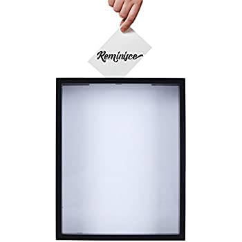 Shadow Box Display Case – Top Loading Black Wood Frame -- Showcase Bottle Caps, Shells, Ticket Stubs, Airline Tickets, and More (White)