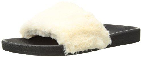 PJ Salvage Women's Faux Fur Slide, Yellow, (Pj Salvage Womens Slippers)