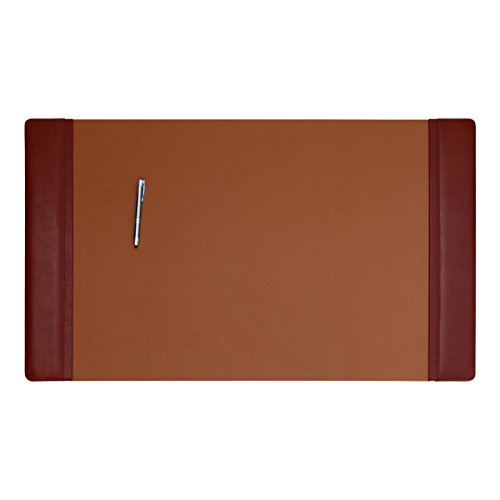 Dacasso Mocha Leather 34 by 20-Inch Desk Pad with Side Rails