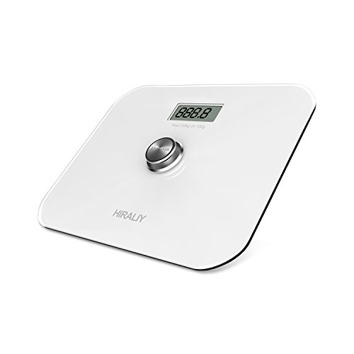 HIRALIY Digital Body Weight Bathroom Scale [No Batteries EVER] with LCD Display and Step on Technology 330lb/150kg (White) Digital Large Display Floor Scale