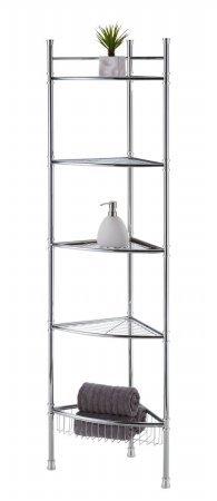 Review Best Living No Tools 5-Tier Corner Tower Shelf, Chrome By Best Living by Best Living