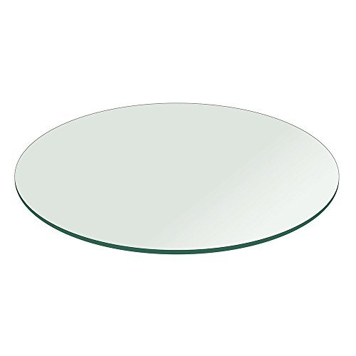 Milan RD242412FECT 24'' x 24'' Round Tempered Glass Table Top with Flat Polish Edge by Milan