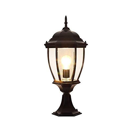 (DLINMEI Post Light/Column lamp/Pillar lamp Pier Mount Veranda Bronze Glass for Deck Porch Yard Patio (Color : Black-h-41cm))