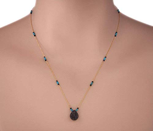 Black Drusy Quartz Pendant Necklace with Blue Turquoise and Black Spinel 18 in. for Women LLD Jewelry