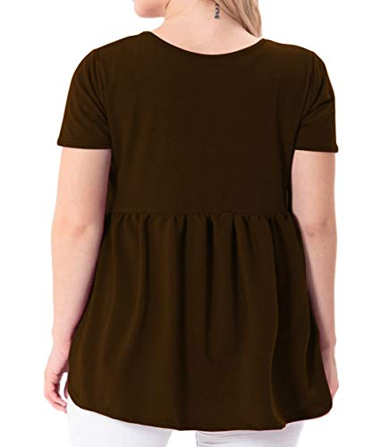 YASAKO Women's Plus Size Button Down Shirts Notch Henley V Neck Short Sleeve Pleated Flowy Blouses Casual Tunic Tops (Brown, 2X-Large)