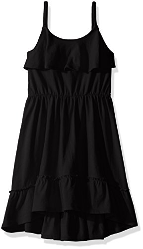 The Children's Place Little Girls' Dress with High-Low Hem, Black, XS (4) (Kids Black Dresses)