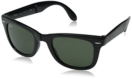 Ray-Ban Men's RB4105 601 Folding Wayfarer Square Sunglasses, Black & Crystal Green, 50 - Clearance Ban Wayfarer Ray