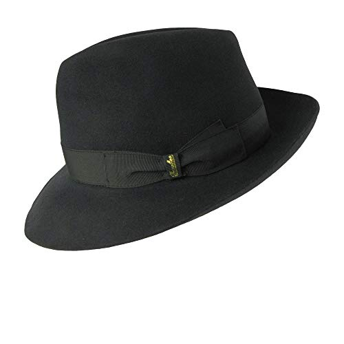 Borsalino Classic Fedora Hat - Charcoal Grey - 56 (Borsalino Fedora Hats For Men)