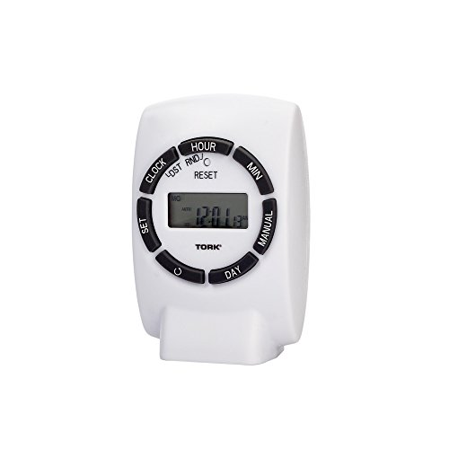 NSi Industries TORK 454E Easy-Set Heavy-Duty Indoor 15-Amp 24-Hour, 7-Day Digital Plug-In Lamp and Appliance Timer - Multiple On/Off Settings - Compatible with Incandescent/Compact Fluorescent/LED - Features 1 Outlet Receptacle