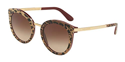 Dolce & Gabbana Women's Oversized Cat Eye Sunglasses, Leo/Bordeaux, Tan, Brown, Print, One Size (Sunglasses Dolce Gabbana &)