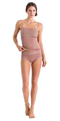 Hanro Lace Moments (HANRO Women's Luxury Moments Wide Lace Spaghetti Camisole, Soft Almond, Medium)