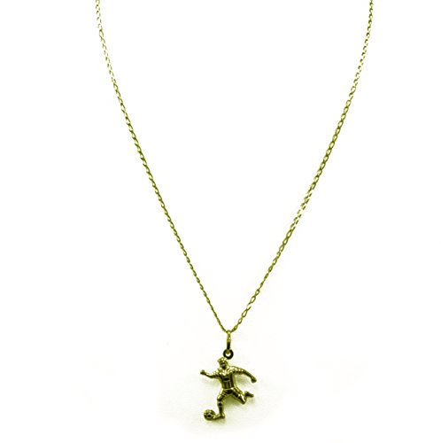 14k Yellow Gold Chain Football/Soccer Pendant Necklace 16