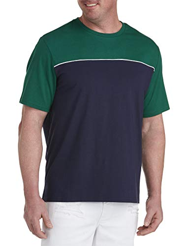 (Society of One by DXL Big and Tall Color Block T-Shirt, Navy Green, 4XLT)