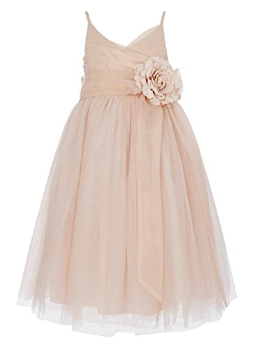 Princhar Tulle Flower Girl Junior Bridesmaids Little Girl Toddler Dress, 3T, Blush Pink ()