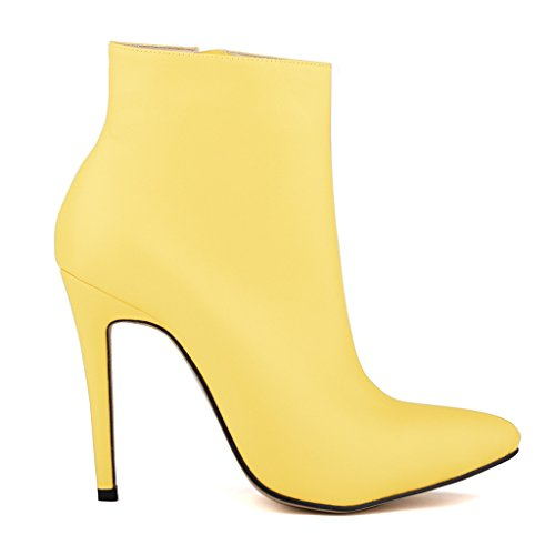 Stiletto Yellow Business Wedding Shoes Sexy Women's Heel Booties for Party ZriEy Work xCaFwqOE
