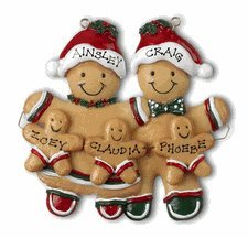 - 2009 Gingerbread Family w/ 3 Kids Hand Personalized Christmas Holiday ornament