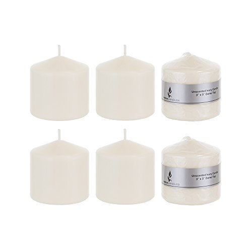 Round Wax Candle - Mega Candles 6 pcs Unscented Ivory Round Pillar Candle | Pressed Premium Wax Candles 3