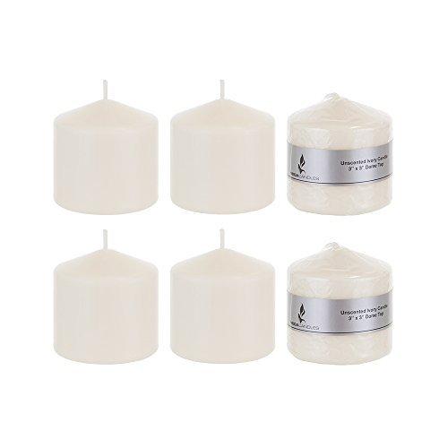 Mega Candles 6 pcs Unscented Ivory Round Pillar