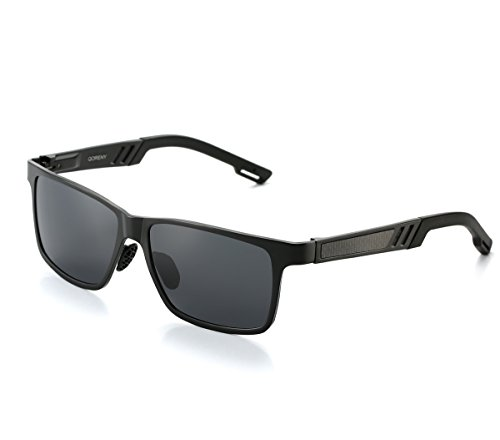 QORENY Men's Hot Retro Driving Polarized Wayfarer Sunglasses Al-Mg Metal Frame Ultra Light (Black frame/Grey Lens, As - Distributor Sunglass