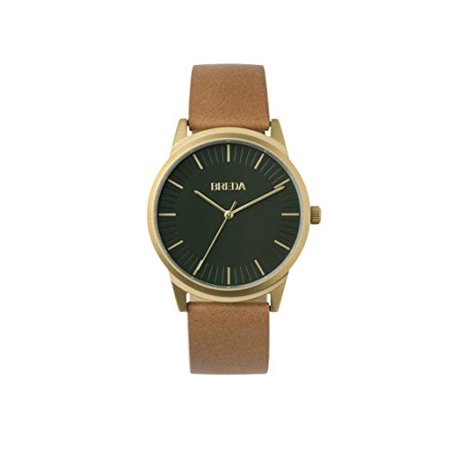 BREDA Men's 'Bresson' 5020m Green Round Fashion Analog Display Quartz with Brown Leather Strap Wrist Watch, 39mm