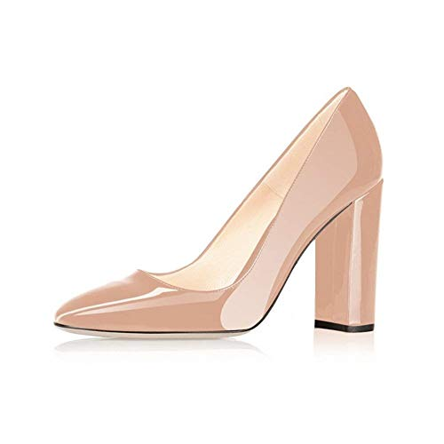 Fericzot Pumps Women Sexy Patent Leather Pointed Toe Block Heels Pumps Gorgeous Evening Party Wedding Stiletto Shoes Plus Size Nude 9M