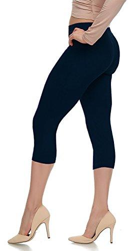 Dark Navy - Lush Moda Extra Soft Capri Leggings - Variety of Colors - Dark Navy, One Size fits Most (XS - XL)