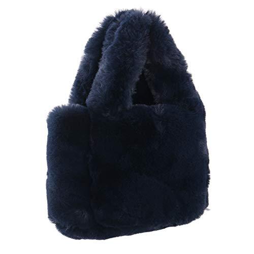 FAITH YN Faux Fur Shoulder Bags for Women Fashion Plush Evening Bags Handbag [Navy]