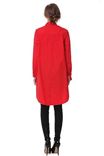 Les Femmes Tiennent Col Boutonné Lâche Manches Longues Vers Le Bas Robe Chemise Ourlet Asymétrique Rouge Nous S / Tag S