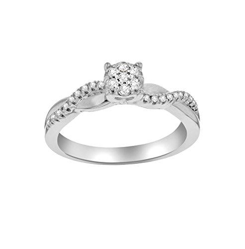 Pavé Privé Chaîne Femme Or Blanc 9Carats Diamant rond blanc carré Halo de taille de la bague-P jr101190907