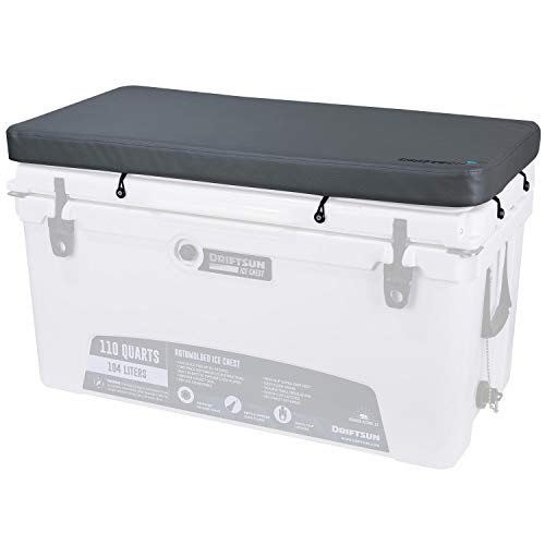 Driftsun Premium Ice Chest Cushion with Comfort Foam Interior and Marine Grade UV Resistant Vinyl Cover, Cooler Seat Cushion with Mounting Hardware, Fits 110-Quart Ice Chests ()