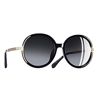 Vintage Oversized Sunglasses Women Metal Legs Polarized Sunglasses Round Lens Eyewear A126