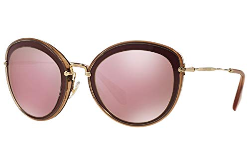 Miu Miu MU50RS - TKW4M2 Sunglasses Bordeaux w/ Pink / Mirrored Gold ()