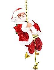 Daseey Contas de escalada do Papai Noel moviDas a bateria elétrica Escalada para cima e para baixo Escalando o Papai Noel com luz e música Decoração de Natal Enfeites de Natal