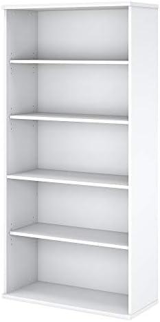 Bush Business Furniture Easy Office White 36W 5 Shelf Bookcase