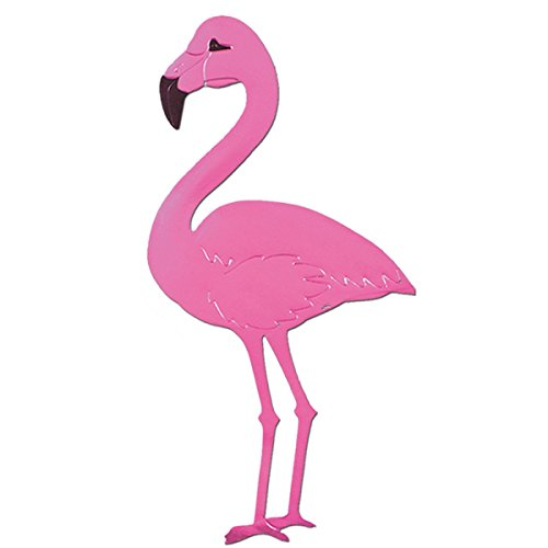 (Club Pack of 24 Bright Pink Foil Tropical Luau Flamingo Silhouette Party Decorations 22
