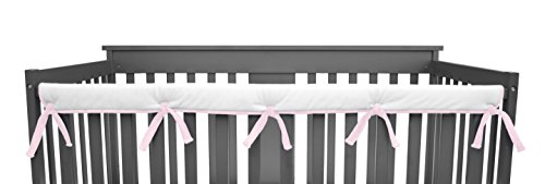 American-Baby-Company-Heavenly-Soft-Chenille-Reversible-Crib-Cover-for-Long-Rail-PinkWhite-Narrow-for-Crib-Rails-Measuring-up-to-8-Around