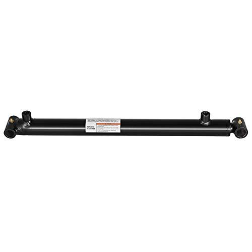 Mophorn Hydraulic Cylinder 1.5 Inch Bore 24 Inch Stroke Double Acting Hydraulic Cylinder 1.5x24 Black Hydraulic Cylinder Welded Double Acting Cross Tube ()