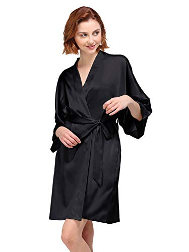 AW Womens Satin Robe Short Kimono Robe V-Neck Soft Bathrobe Sleepwear Solid Color, Black Silk Robe XS (Xs Spa)