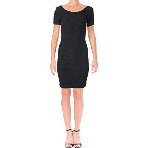 bebe Womens Criss-Cross Short Sleeves Cocktail Dress Black L -