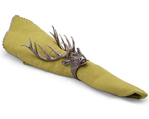 Vagabond House Solid Pewter Metal Elk Head Napkin Ring 5.5