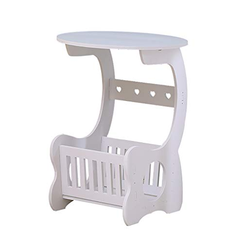 side table,Round Side End Lamp Coffee Table Magazine Holder Rack Sofa Side End Table C Table, Snack Table with Wood Finish for Home and Office-White
