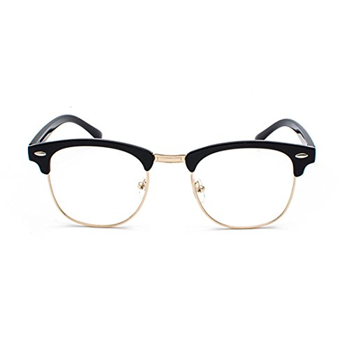 UV400 lentes y C1 polarizados Medio sol marco Gafas hombres Mujeres de Huicai Oro retro Negro 4qPUacw