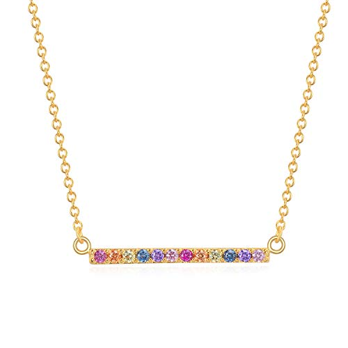(Rainbow CZ Bar Necklace - 18k Gold over Sterling Silver)