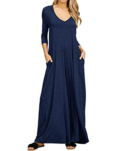 Jacansi Womens Loose Long Sleeve V Neck Plain Casual Maxi Dress with Hood Navy -
